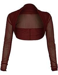 Online Fashion Store nuevo vino Sheer malla gasa manga larga recortada Cardigan encogimiento de hombros Bolero