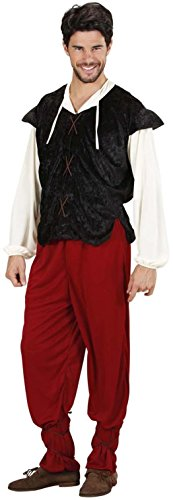 Widmann 3185I - Erwachsenenkostüm mittelalterlicher Gastwirt, Hemd mit Weste, Hose und Schnüre für die Beine, Größe XL
