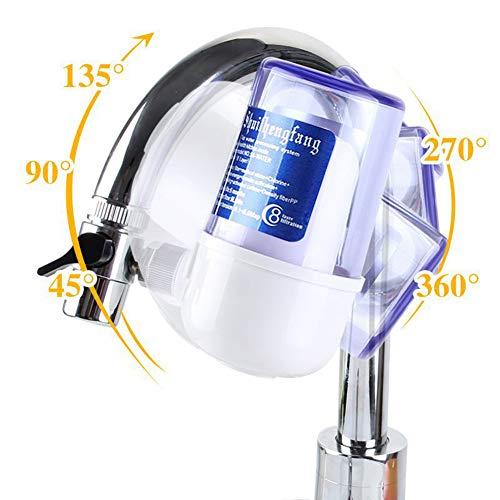 Purificador de agua para grifo reemplazable, con ventana visual transparente con filtro de cerámica lavable Purificador de agua con núcleo, Dispositivo de purificación de agua para cocina o baño