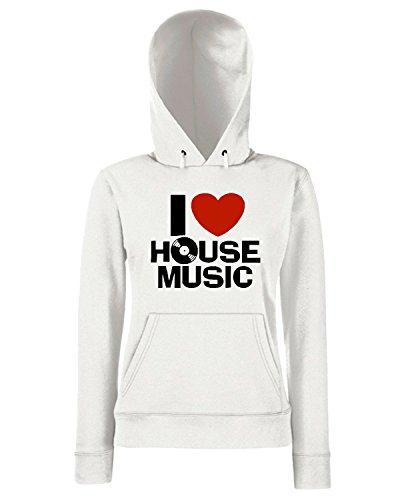 T-Shirtshock - Sweats a capuche Femme TLOVE0052 i love house music mens Blanc