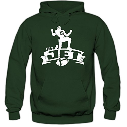 Jet #7 Hoodie | Herren | Super Bowl | Play Offs | Football Hoodies | USA | Kapuzenpullover, Farbe:Dunkelgrün (Bottlegreen F421);Größe:XL