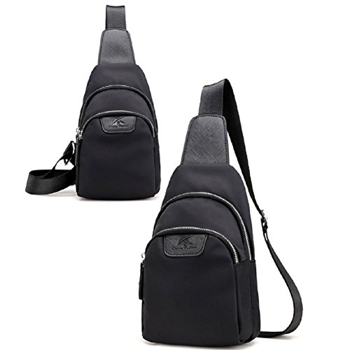 Ladies petto pack,singola spalla /messenger bag,borsa di tela-nero nero