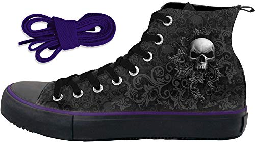 Spiral Damen Sneaker, Totenkopf-Motiv, hohe Schnürung, Schwarz - Schwarz - Größe: 38 EU -