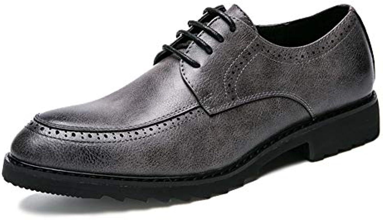 Yajie-scarpe, Men's Comfort Low Top Stringato con con con Scarpe Casual Oxford Stile Formale Moda Britannica (Coloree   Grigio... | Caratteristiche Eccezionali  2bcaec
