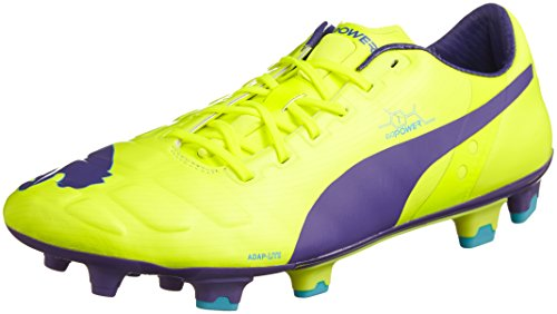 Puma evoPOWER 1 FG, Herren Fußballschuhe, Orange (fluro yellow-prism violet-scuba blue 08), 43 EU (9 Herren UK) Orange Blue-puma-schuhe