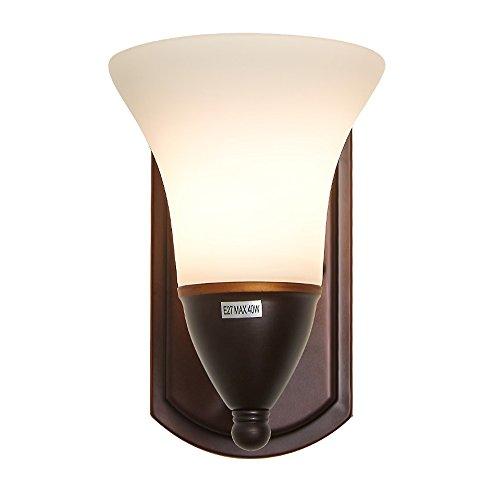 Lampe murale à 1 tête, LZC Simplicité moderne 11-15W 110-240V tension E 27 Interface rotative Fer + matériau en verre Escaliers Lampe de chevet Salon de la chambre (marron)