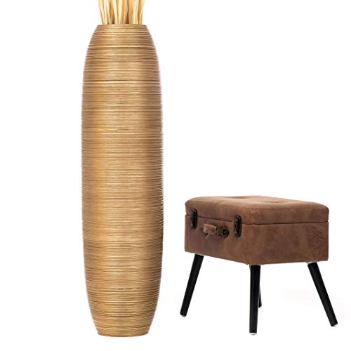 Leewadee Große Bodenvase für Dekozweige hohe Standvase Design Holzvase 112 cm, Mangoholz, Gold
