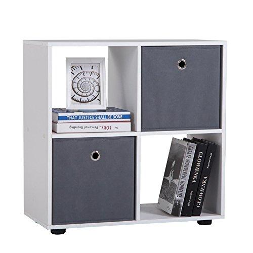 CARO-Möbel Raumteiler Cuatro Bücherregal Raumtrenner Regal Würfel Weiß mit 4 Fächern (4 Regal-wohnzimmer-bücherregal)