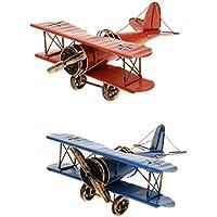 Homyl Avión Decoración Vintage Mini Metal Decorativo Avión Modelo Colgante Hierro Forjado Avión Biplano Modelo Colgante Pack De 2 Azul Y Rojo