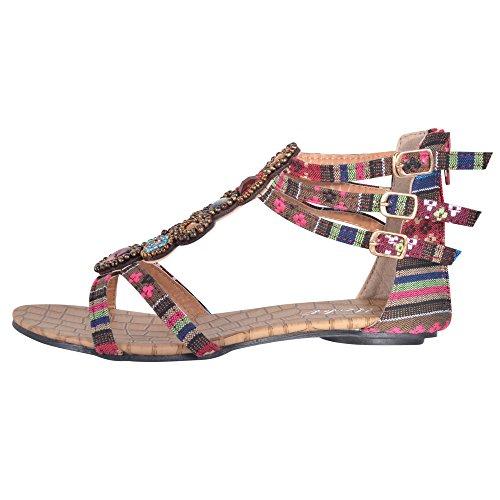 Hee Grand Sommer Damen Elegante Flache Schuhe Roemersandalen Casual T-Spangen Sandalen Rot