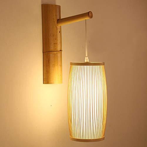 Laogg Applique Murale LED, Bambou en Osier Rotin Lanterne Ombre Applique Murale Pays Rustique Appliques Maison Chambre Salon Couloir Luminaire