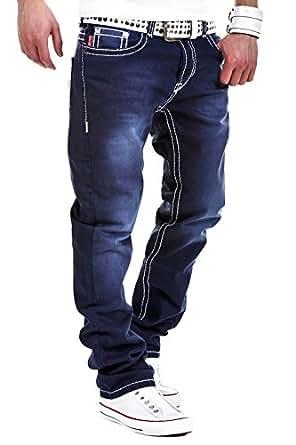 mt herren jeans straight fit dicke naht dunkelblau rj. Black Bedroom Furniture Sets. Home Design Ideas