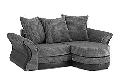 Merida Corner Sofa Lounger in Grey & Black or Brown & Beige Cord Chenille Fabric from Abakus Direct