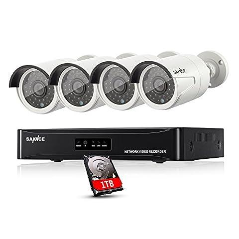 Sannce Überwachungssystem Videoüberwachung PoE 1080P HD 4CH NVR mit 4 x 1080P IP Überwachungskameras Nachtsicht bis zu 30 Meter mit 1TB (Erweiterte Sicherheitssystem)