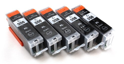Preisvergleich Produktbild 5 Multipack komp. XL Druckerpatronen für Canon Pixma MG7550 MG7150 MG6650 MG6450 MG6350 MG5655 MG5650 MG5550 MG5450s MG5400 MG5450 IP7250 IP8750 IX6850 MX725 MX925 kompatibel 5 x 550BK XL schwarz mit Chip