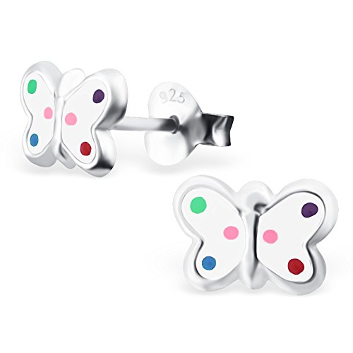 Monkimau 925 Silber Schmetterling Ohrringe bunten Punkten Kinder-Schmuck Kinder-Ohrstecker Sterling Silber Damen Frauen Mädchen-Ohrstecker (Silber)