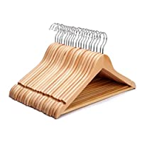 ZYBUX - Pack of 20 Strong Premium Wooden Coat Hangers with Round Trouser Bar and Shoulder Notches