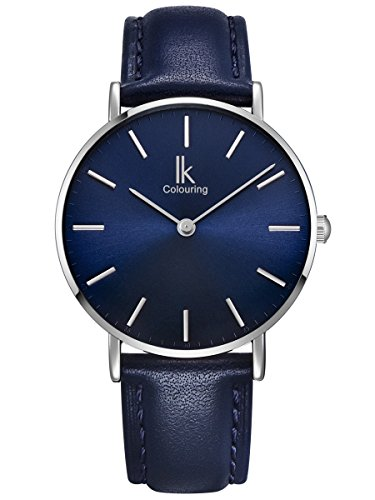 Leder Blau (Alienwork Navy Blue Quarz Armbanduhr Ultra-flach Uhr Damen Uhren Herren Zeitloses Design Leder blau 98469NBL-05)