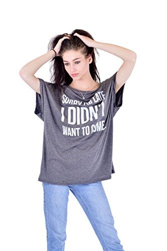 Women 'Sorry Im Late I Didn't Want to Come' slogan Off Shoulder Baggy Top Ladies T shirt