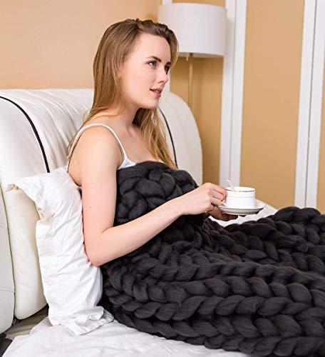 Strickdecke Grob, Gestrickte Decke Stricken Werfen Super Große Klobige Stricken Haustier Bett Stuhl Sofa Yoga Matte Teppich Gemütliche Bettüberwurf,Schwarz,50x50cm -