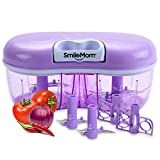 #8: Smile Mom Twin Vegetable Chopper, Cutter, Mixer for Kitchen, 4 Interchangeable Blade, Violet (1500 ML)