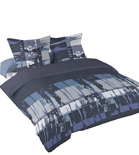 Buckingham Single (Lancashire Textiles Buckingham Single, leicht zu bügeln Blended Baumwolle Bettwäsche Set in grau/blau)