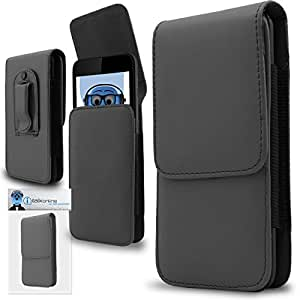 Grey PREMIUM PU Leather Vertical Executive Side Pouch Case Cover Holster with Belt Loop Clip and Magnetic Closure for Leagoo Elite 6