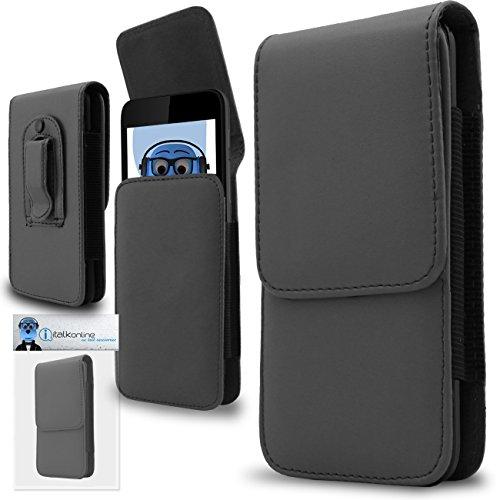 iTALKonline Grau Premium PU-Leder Vertikale Exekutive Seitentasche Kofferabdeckung Holster mit Gürtelschlaufe Clip und Magnetverschluss für Leagoo Alfa 6