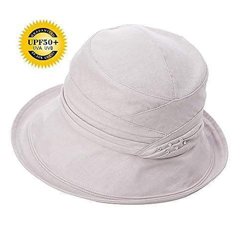 Siggi Femme Coton/Lin Capeline Pliable Chapeau de Soleil Réglable Bucket Bord Seau Eté Plage Voyage UPF UV Gris