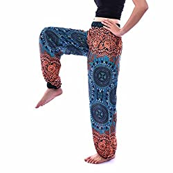 Morwind Women Sports Yoga Leggings Men Women Thai Harem Trousers Boho Festival Hippy Smock High Waist Yoga Pants, Boho Harem Pants Bohemain Hipster One Size (Green)