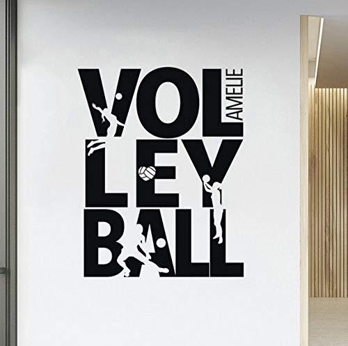 Diy wandtattoo beach volleyball wandaufkleber treten silhouette vinyl dekor für teenager zimmer sport dekorationen 42x52 cm (Zimmer Teenager Dekor)