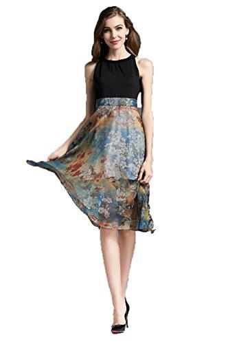GBT Sleeveless Hohe Taille Bedruckter Seide Kleid Stitching Foto Farbe