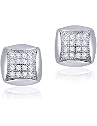Shiyara Jewells Sterling Silver Fine Square Earrings With CZ Stones For Women(ER00715)