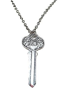 Sherlock Holmes Schmuck. Weinlese-221B Baker Street House Key Halskette. Silber Ton