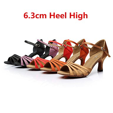 Chaussures De Danse-personnalisable-womens-latin-american Dance / Custom-made Talon-satin-noir / Marron / Violet / Rouge / Autre Violet
