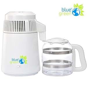 blue green Water Pro Weiss | Destilliergerät mit Glaskanne | 4 Liter reines, destilliertes Wasser | Kein Kontakt mit Plastik | Megahome