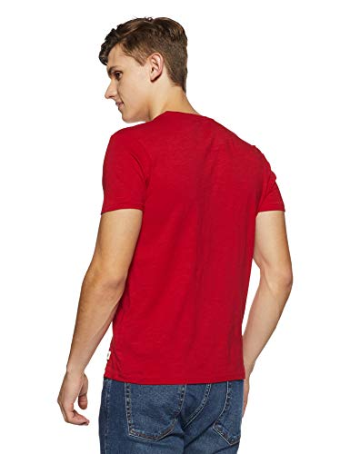 Flying Machine Men's Printed Regular Fit T-Shirt (FMTS8203_Red_M)