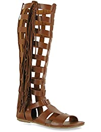Para Dama Recortado Sandalias Estilo Gladiador Plano Botas A Rodilla Con Correas Talla - Piel Sintética Negra, 40 Eu