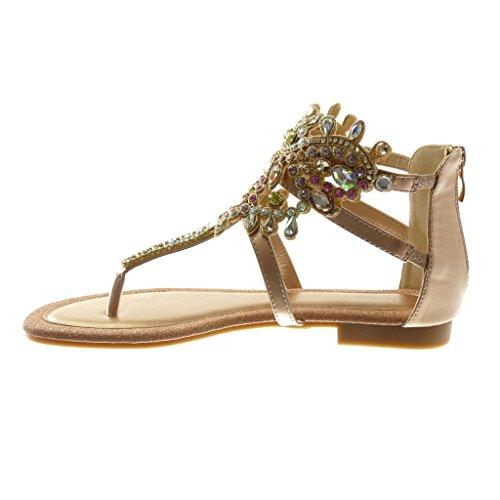Angkorly Scarpe Moda Sandali Infradito con Cinturino Alla Caviglia Donna Gioielli Strass Multi-Briglia Tacco a Blocco 1 cm Champagne