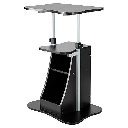 Scrivania porta pc computer tavolo ufficio, tavolo da computer portatile regolabile con ruote tavolino da letto regolabile in altezza legno