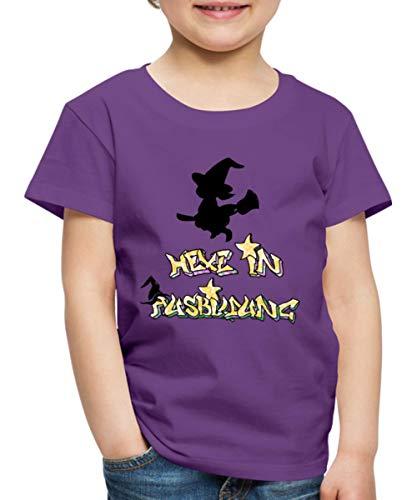 Spreadshirt Hexe In Ausbildung Silhouette Besen Kinder Premium T-Shirt, 110/116 (4 Jahre), Lila (Kinder Hexe Besen)
