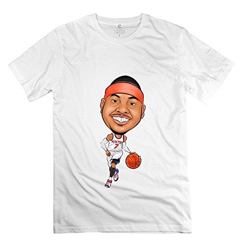 Carmelo Anthony (Herren's Carmelo Anthony 7 Cartoon T-Shirt- Weiß)