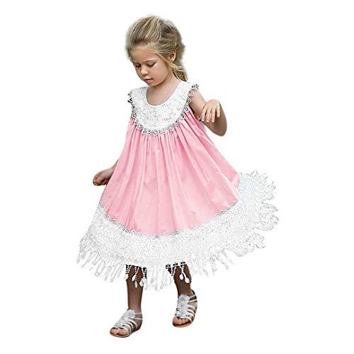 i-uend 2019 mädchen frühling Sommer Dress - Baby rüschen ärmellose floral Patchwork Spitze Sommerkleid kleiden Kleid