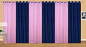 Excel Bazaar Plain Polyester Door Curtains- 7 Feet x 4 Feet, Pink and Blue (Pack of 6)
