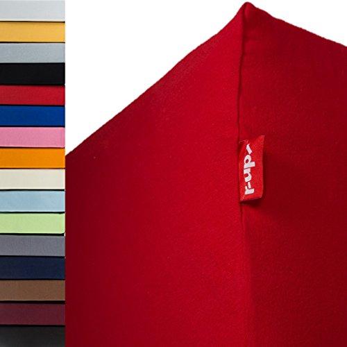 r-up Passt Spannbettlaken Doppelpack 140x200-160x200 bis 35cm Höhe viele Farben 100% Baumwolle 130g/mu00b2 Oeko-Tex stressfrei auch für hohe Matratzen (rubinrot)