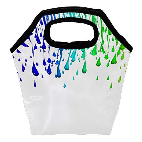 Yuzheng Wiederverwendbare Lunchtasche Reisetasche mit Reißverschluss, wasserdicht, Picknicktasche mit bunten Regenbogen-Tropfen für Wohnmobil, Angestellte, Arbeiter