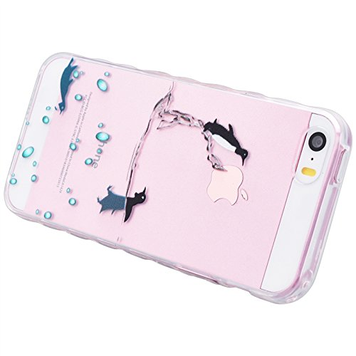 iPhone 5 / 5S / SE Hülle, Yokata Transparent Weich TPU Soft Case mit Welle Anti-Slip Silikon Bumper Crystal Klar Schutzhülle Durchsichtig Dünne Case Cover + 1 X Stylus Pen - Vögel Delphin
