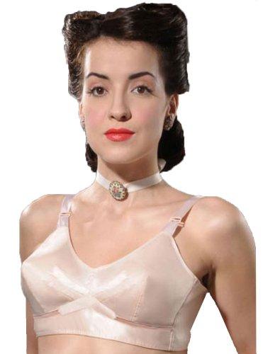 #What Katie Did 40er Jahre Vintage Bullet BH ohne Bügel, Satin, Pfirsich 36D UK/36D US/80D EU/95D FR#