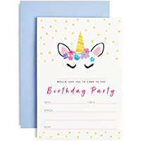 TBS Unicorn Birthday Party Invitations with envelopes | 10 pack | Girls party invites | Pastel Colours | Magical Unicorns | Unicorn Party A6 invitations