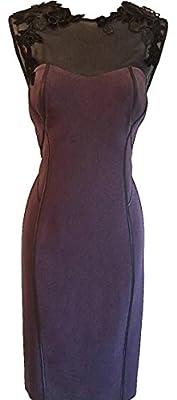 Karen Millen Velvet Applique Pencil Dress Aubergine/Black